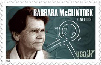 The Barbara McClintock U.S. Postage stamp includes a diagram that shows how genes are intelligently transposed by the Mutation Algorithm in DNA